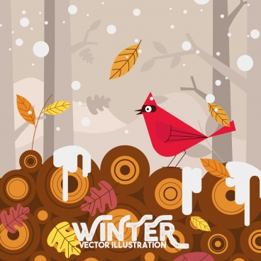 winter background bird leaf snowfall icons decor