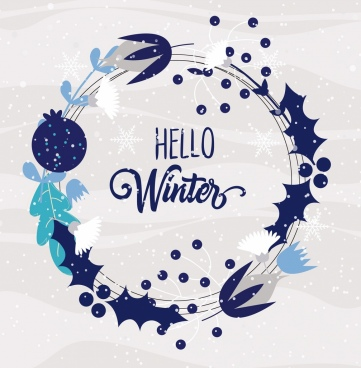 winter background circle wreath icon classical design