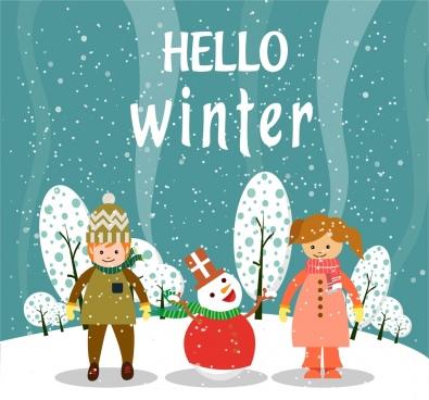 winter background classical cartoon manner human snowman decoration