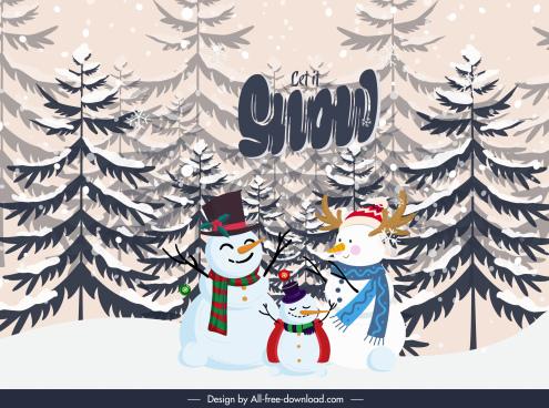 winter background cute stylized snowman fir tree decor