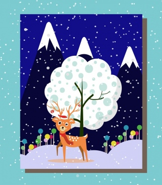 winter background design night scenery and cute reindeer