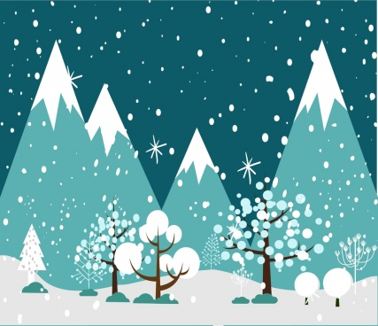 winter background falling snow trees ornament