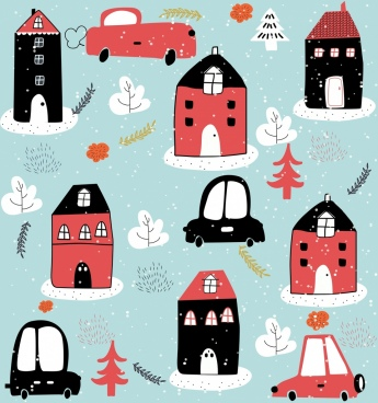 winter background house snow car icons flat handdrawn