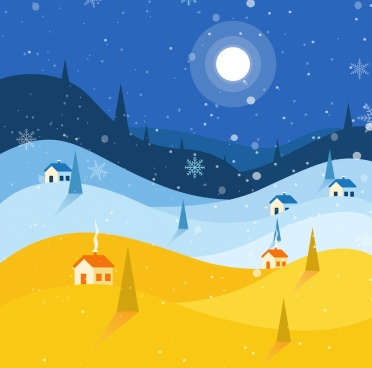 winter background moonlight snowflakes town icons decor
