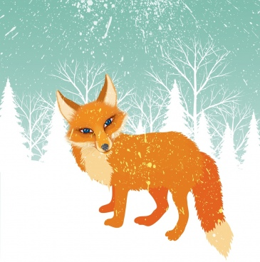 winter background orange fox snowy backdrop cartoon style