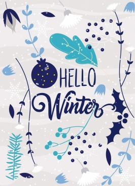 winter background plant icons classical design