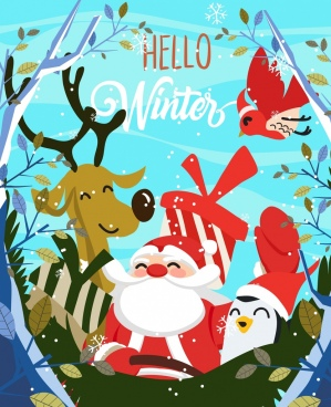winter background santa claus stylized animals icons