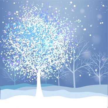 winter background snow leafless tree ornament