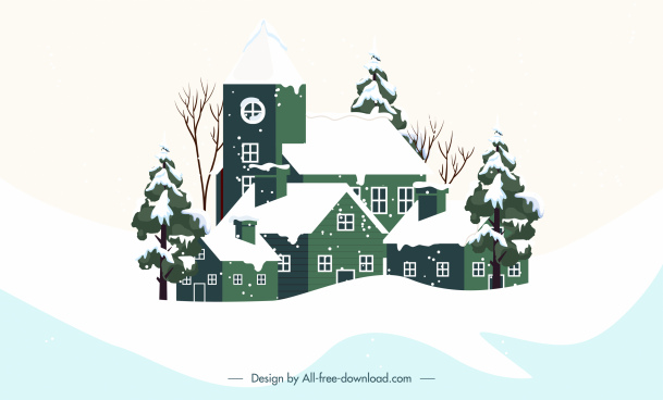 winter background snowfall houses sketch