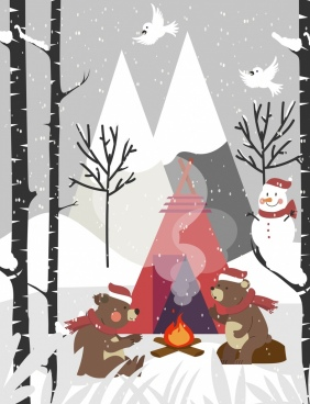 winter background snowfall stylized bears campfire icons