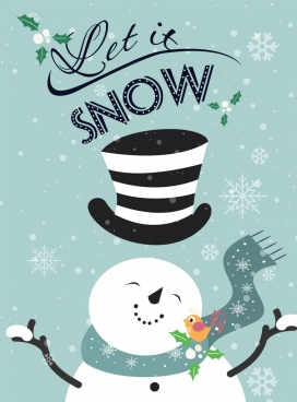 winter background snowman bird snowflakes icons calligraphic decor