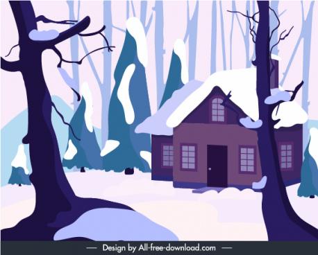winter background snowy scene cottage sketch