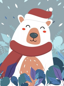 winter background stylized bear icon colorful decor