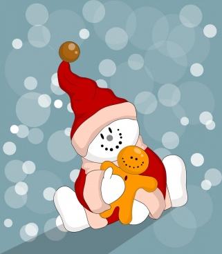 winter background stylized snowman icons bokeh decor