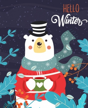 winter background stylized white bear icon classical design