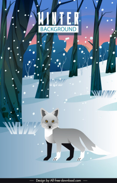 winter background template fox forest sketch cartoon design