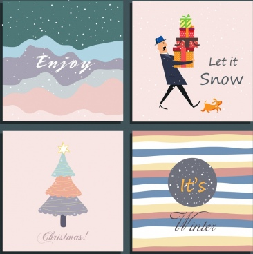 winter background templates snowfall gifts fir trees icons