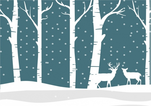 winter background white silhouette reindeer trees snowy ornament