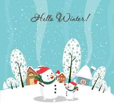 winter background white snowmen and snow falling design