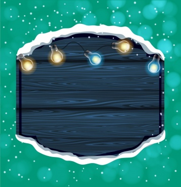 winter background wooden board sparkling lights decoration