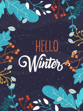winter banner flowers leaves ornament classical colored design