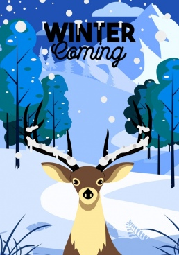 winter banner reindeer snowfall icons decor