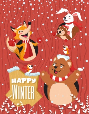 winter banner stylized animals snowy icons colored cartoon