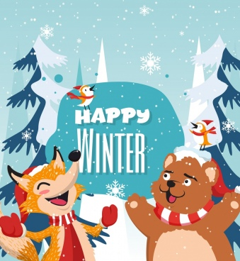 winter banner stylized fox bear birds icons decor