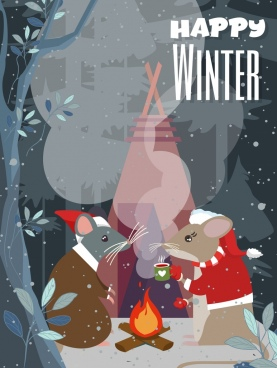 winter banner stylized mouse icons cartoon design