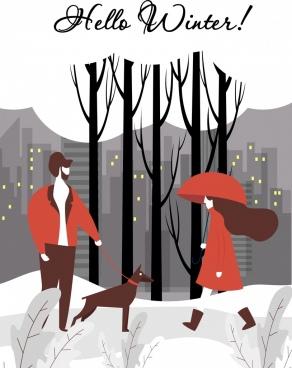 winter banner urban lifestyle snowy landscape cartoon design