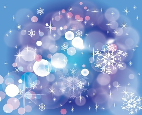 christmas style blue bokeh background sparkling snowflakes decoration