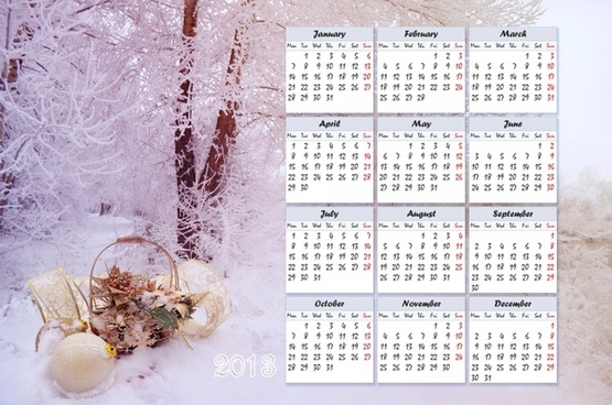 winter calendar for 2013