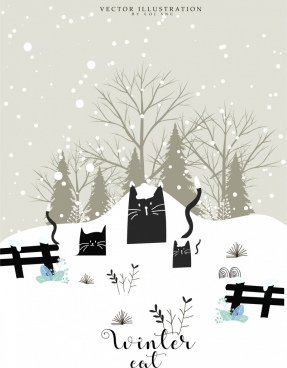 winter card template black cat snow icons