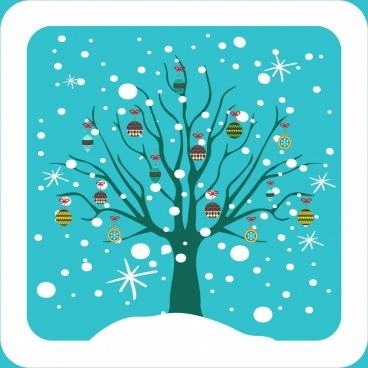 winter christmas background colored tree and baubles decoration