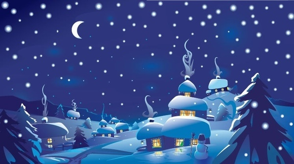 Winter Christmas Scene Vector Illustration