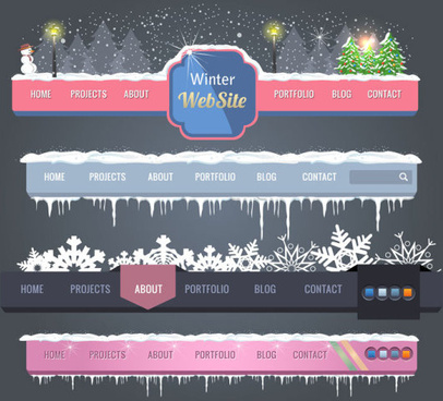 winter christmas style site navigation design vector