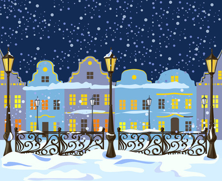 winter city christmas background vector