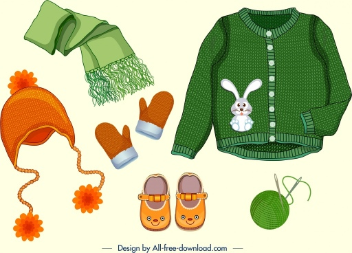 winter clothes design elements baby accessories icons