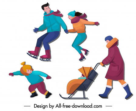 winter costumes icons people activities sketch cartoon characters
