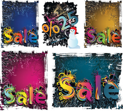 winter discount sales background vector