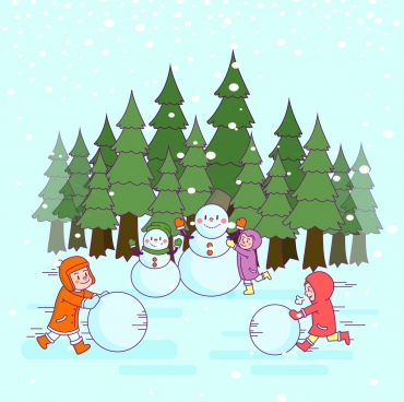 winter drawing playful kid outdoor snowman colored cartoon