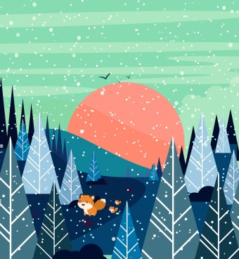 winter drawing tree snow fox icons colored cartoon