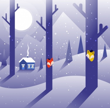 winter drawing violet decor trees house moonlight icons
