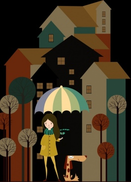 winter fashion sketch girl pet houses icons decoration