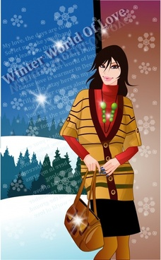 winter fashion advertising elegant young design cartoon sketch