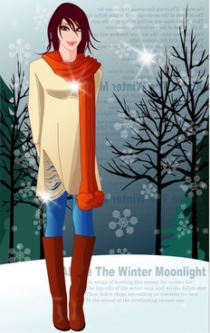 winter fashion advertising elegant design cartoon model sketch