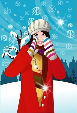 winter fashion advertising sparkling snowflakes cartoon model sketch