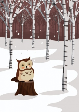 winter forest background falling snow owl icons decor