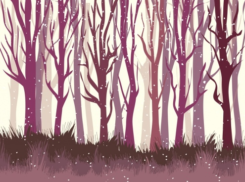 winter forest background violet leafless trees icons