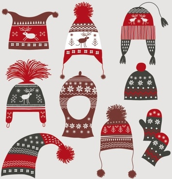 Winter hats gloves 02 vector